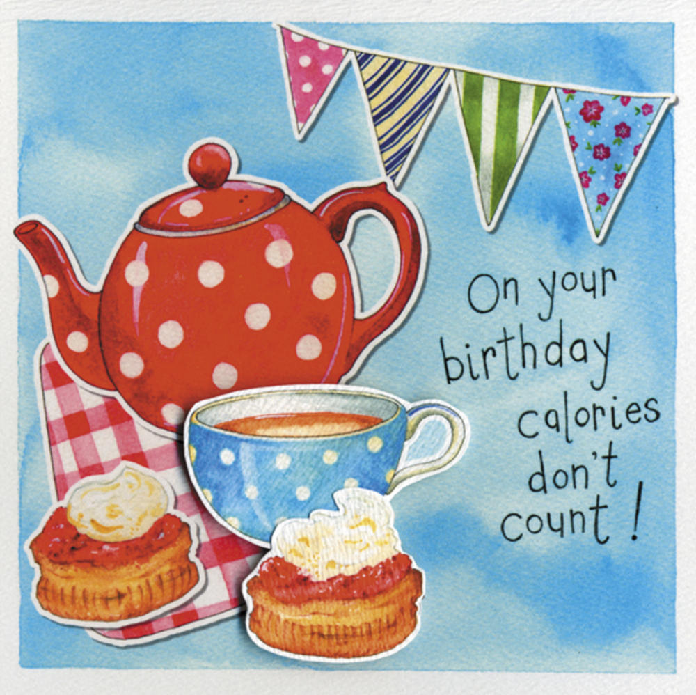 Calories Don't Count Embellished Birthday Greeting Card