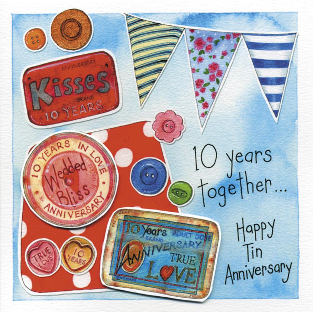 Happy 10th Tin Wedding Anniversary Greeting Card