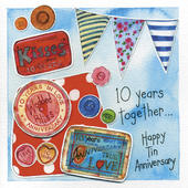 Happy 10th Tin Wedding Anniversary Greeting Card