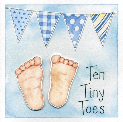 Ten Tiny Toes New Baby Boy Greeting Card