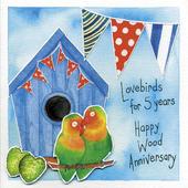 Happy 5th Wood Wedding Anniversary Greeting Card