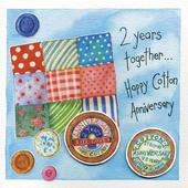 Happy 2nd Cotton Wedding Anniversary Greeting Card