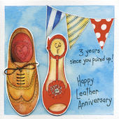 Happy 3rd Leather Wedding Anniversary Greeting Card