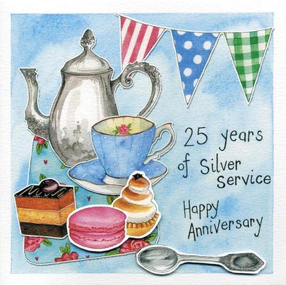 Happy 25th Silver Wedding Anniversary Greeting Card