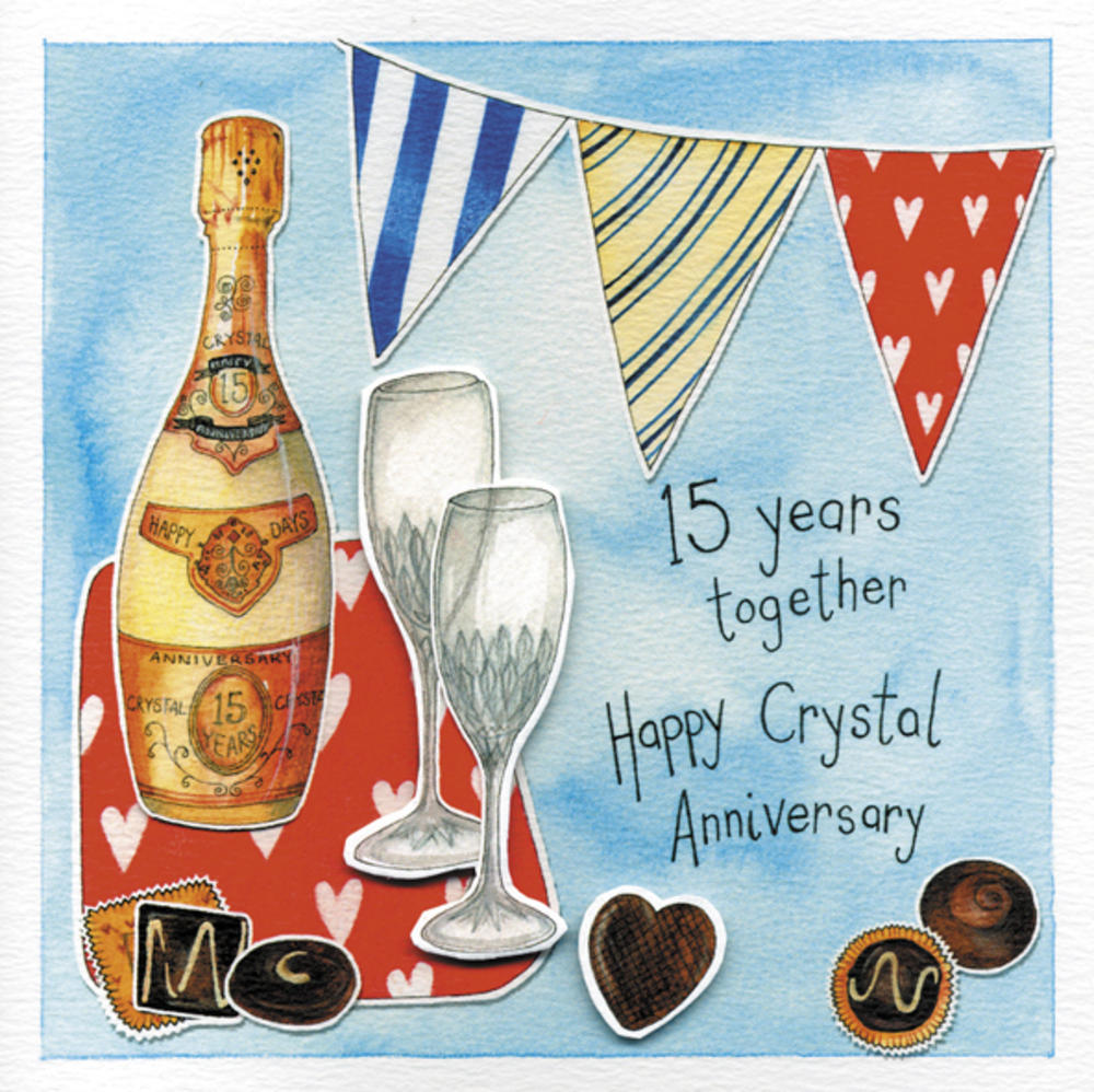 Happy 15th Crystal Wedding Anniversary Greeting Card
