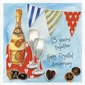 Happy 15th Crystal Wedding Anniversary Greeting Card