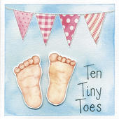 Ten Tiny Toes New Baby Girl Greeting Card