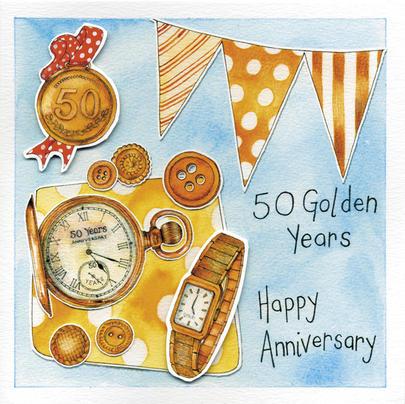 Happy 50th Golden Wedding Anniversary Greeting Card