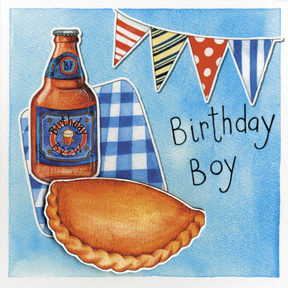 Birthday Boy Embellished Pasty Birthday Greeting Card