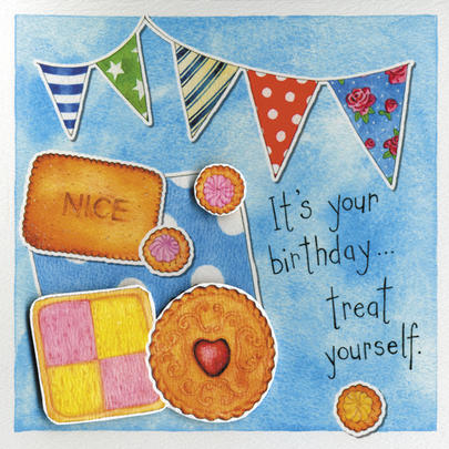 Treat Yourself Embellished Birthday Greeting Card