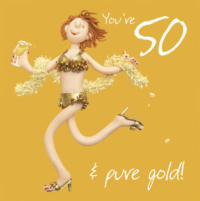 Female 50th Birthday Card Greeting Card One Lump or Two