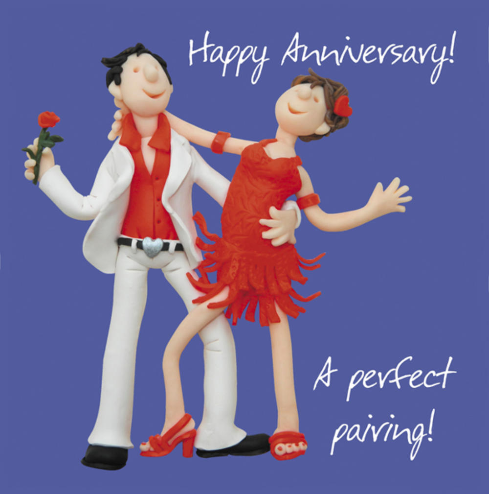 Happy Anniversary A Perfect Pairing Greeting Card One Lump or Two