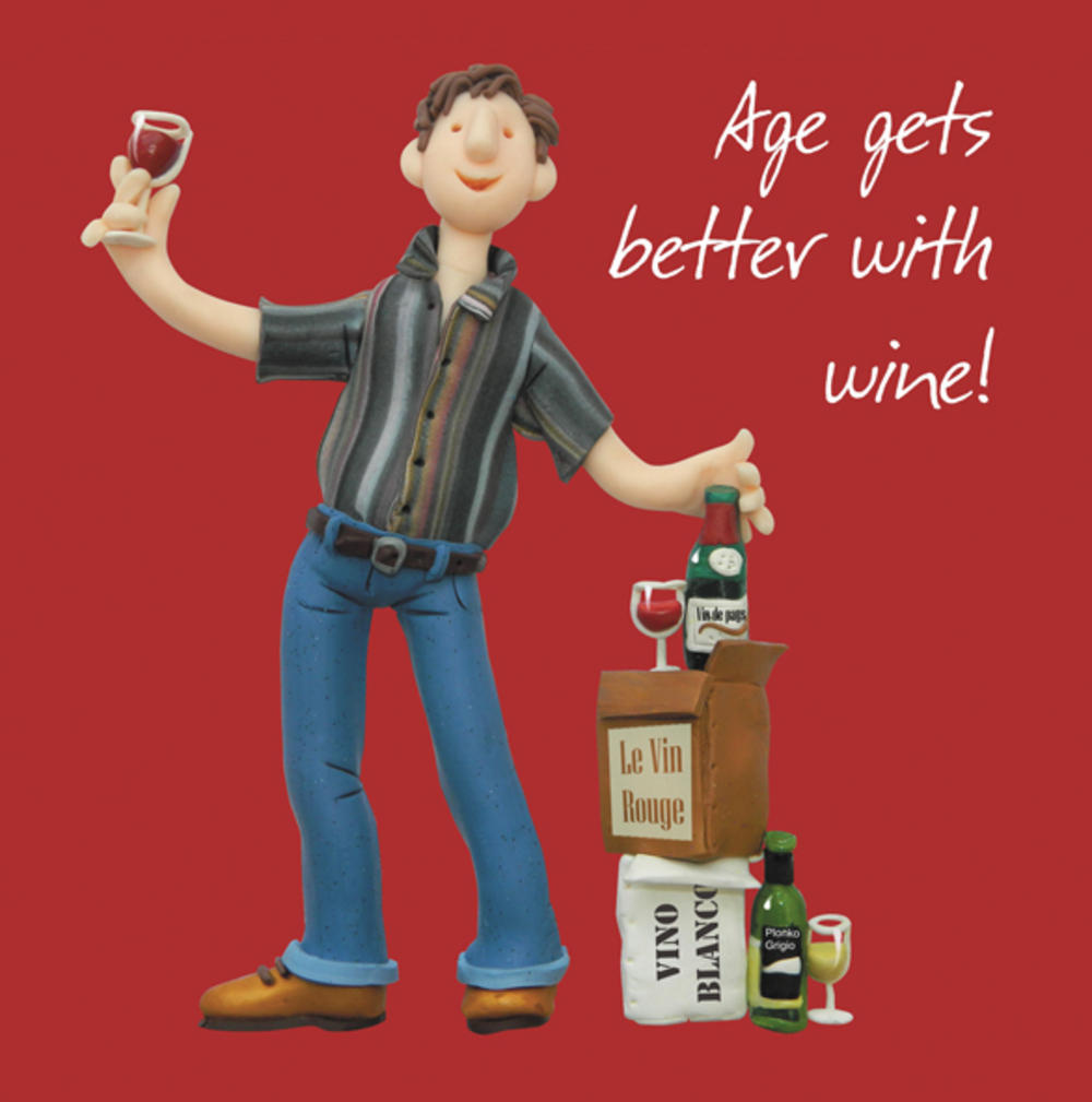 Age Gets Better With Wine  Birthday Card One Lump or Two
