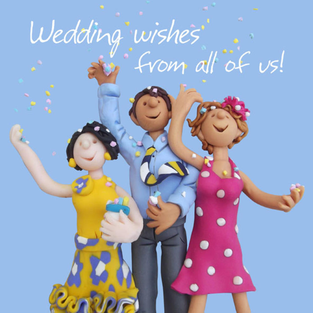 """Large 8"""" Square Wedding Wishes From All Of Us Greeting Card"""