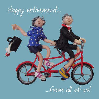 """Large 8"""" Square Happy Retirement From All Of Us Greeting Card"""