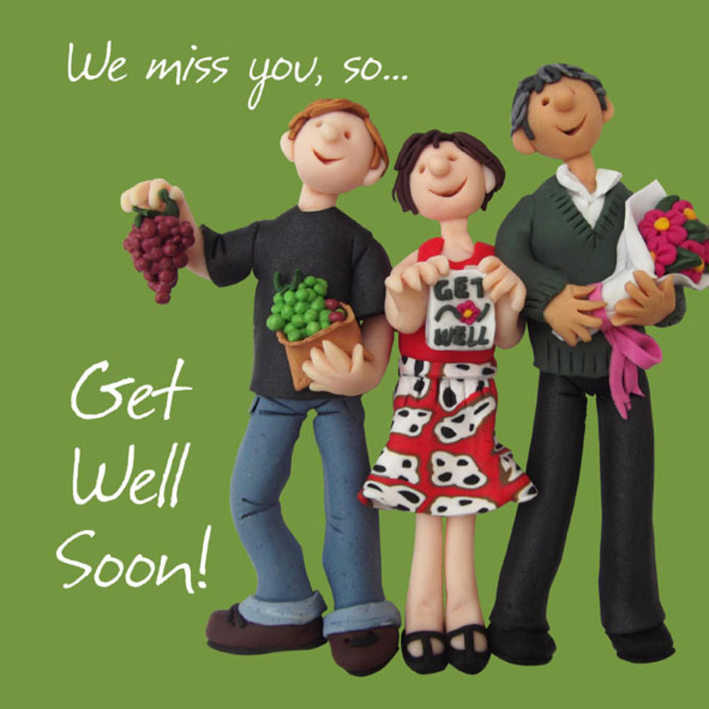 """Large 8"""" Square Get Well Soon Greeting Card"""
