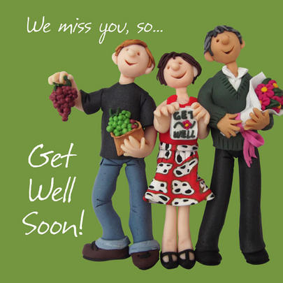"Large 8"" Square Get Well Soon Greeting Card"