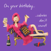 Calories Don't Count Birthday Card One Lump or Two
