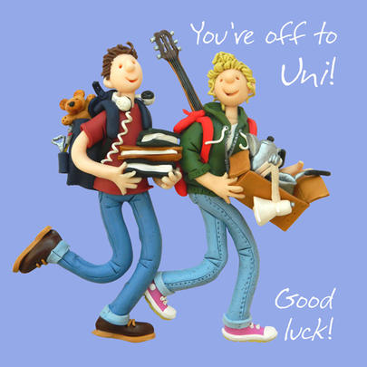 Off To Uni Good Luck Greeting Card One Lump or Two