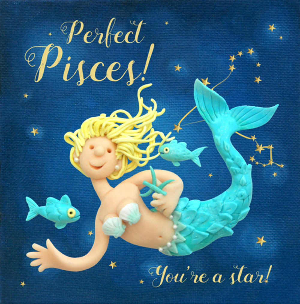 Perfect Pisces Zodiac Birthday Greeting Card