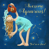 Awesome Aquarius Zodiac Birthday Greeting Card