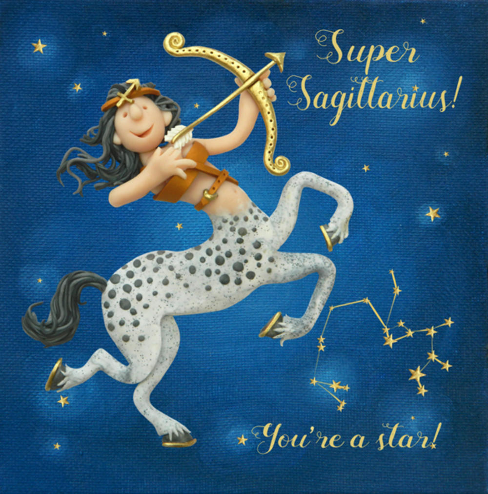 Super Sagittarius Zodiac Birthday Greeting Card
