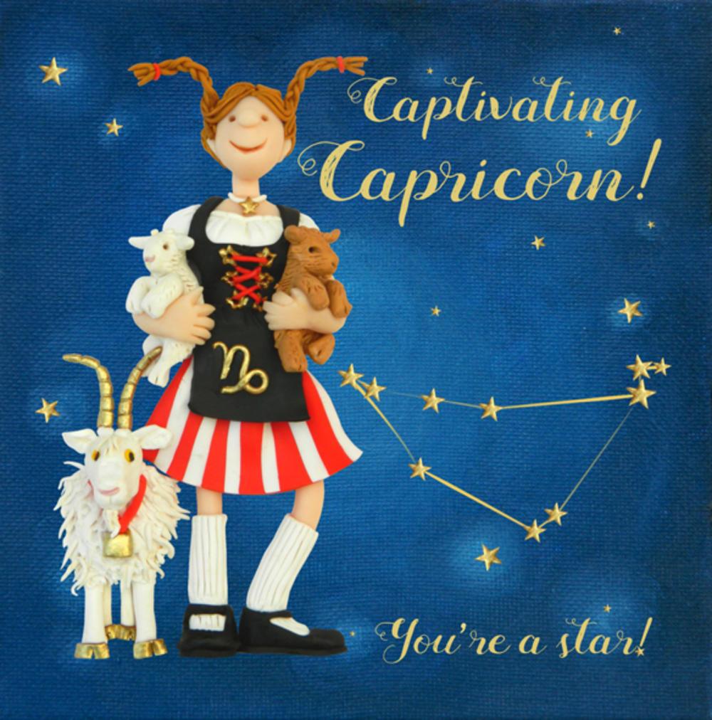 Captivating Capricorn Zodiac Birthday Greeting Card