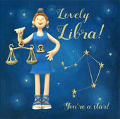 Lovely Libra Zodiac Birthday Greeting Card