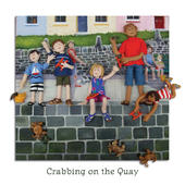 Crabbing On The Quay Blank Greeting Card Any Occasion