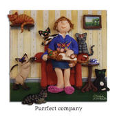 Purrfect Company Blank Greeting Card Any Occasion