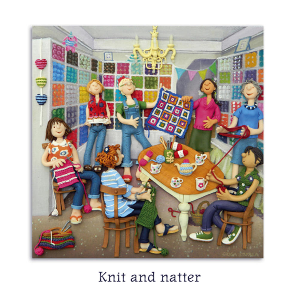 Knit & Natter Blank Greeting Card Any Occasion