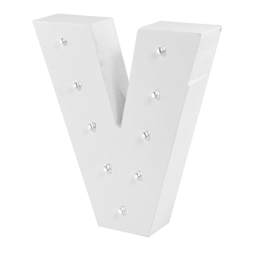 Letter V Enlightened LED Light Up Wooden Block
