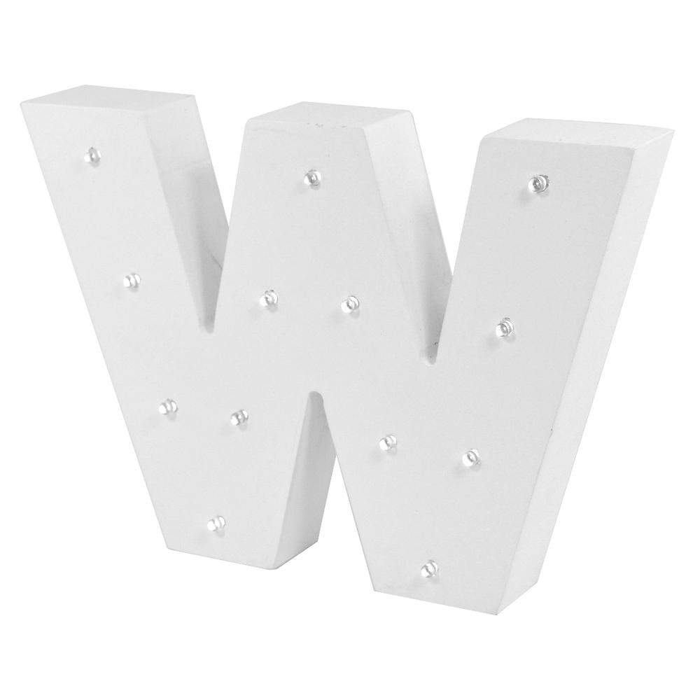 Letter W Enlightened LED Light Up Wooden Block