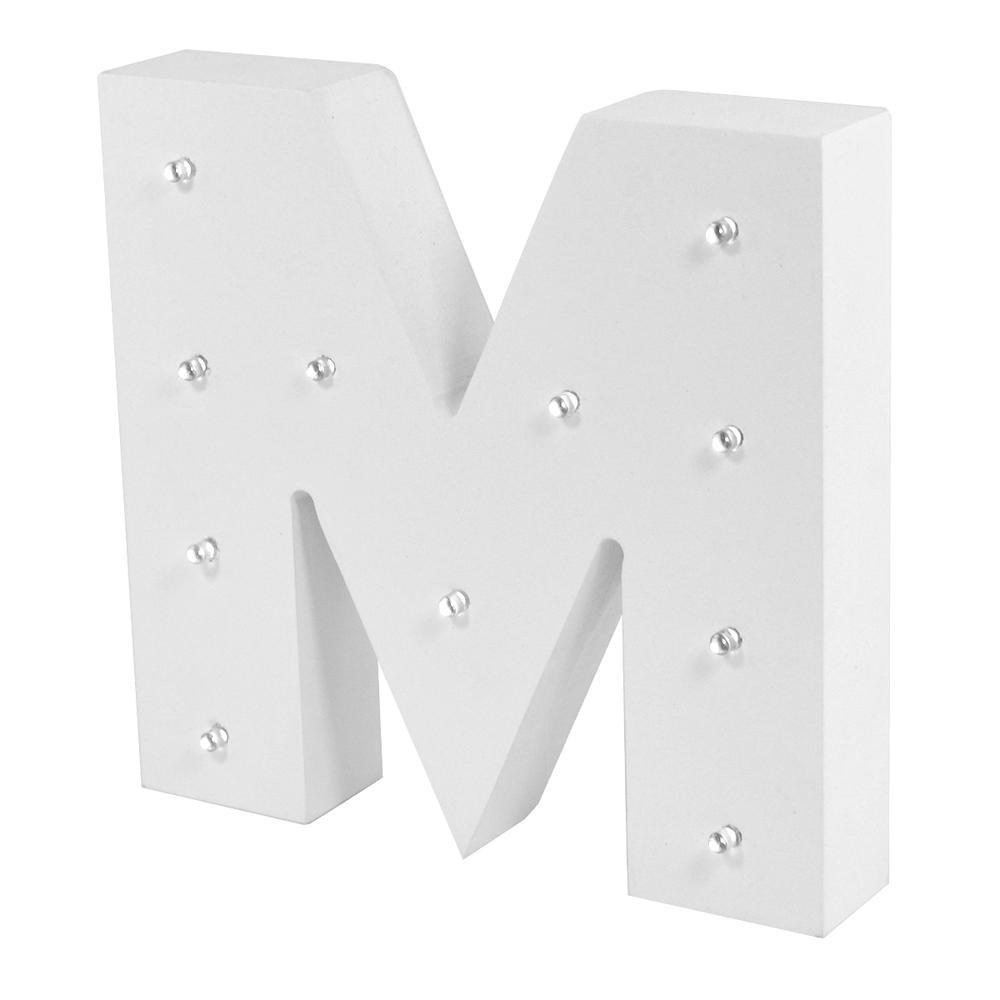 Letter M Enlightened LED Light Up Wooden Block