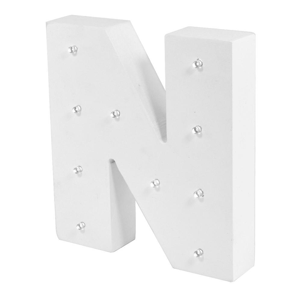Letter N Enlightened LED Light Up Wooden Block