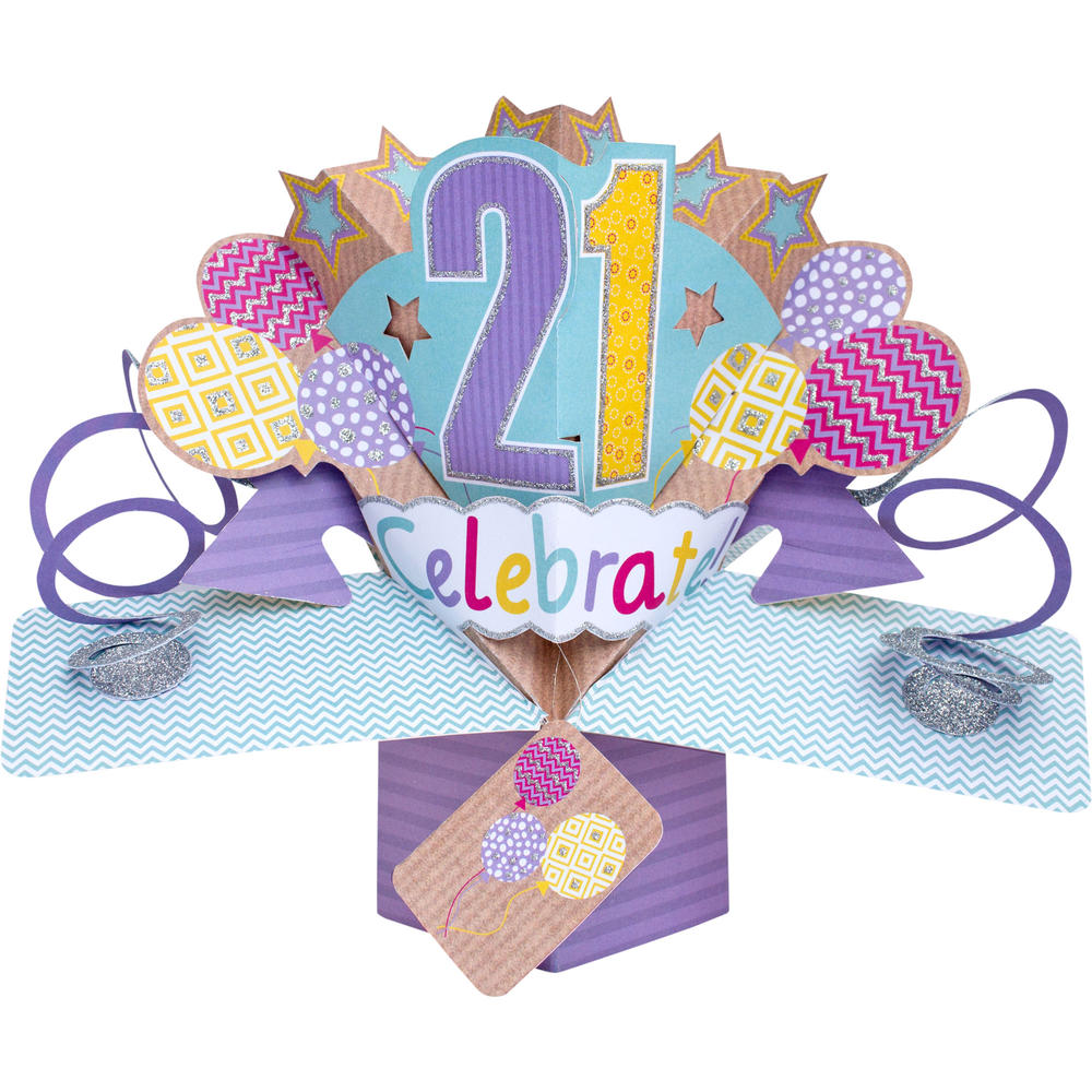 Happy 21st Birthday Pop-Up Greeting Card