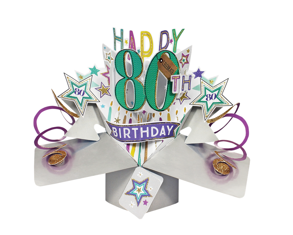 Happy 80th Birthday Pop Up Greeting Card Cards Love Kates