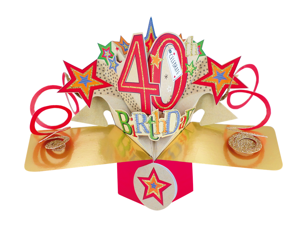 Age 40 Male 40th Birthday 3D POP UP CARD by Second Nature 3D Cutting Edge