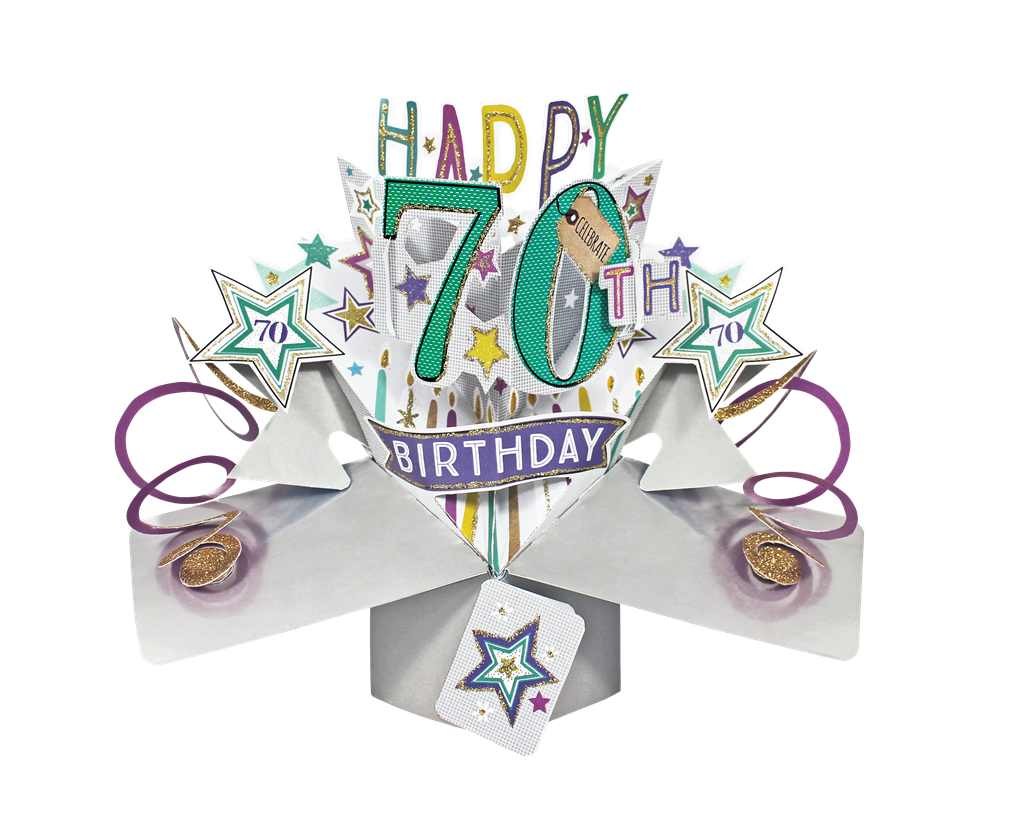 Happy 70th Birthday PopUp Greeting Card Cards – Happy 70th Birthday Cards