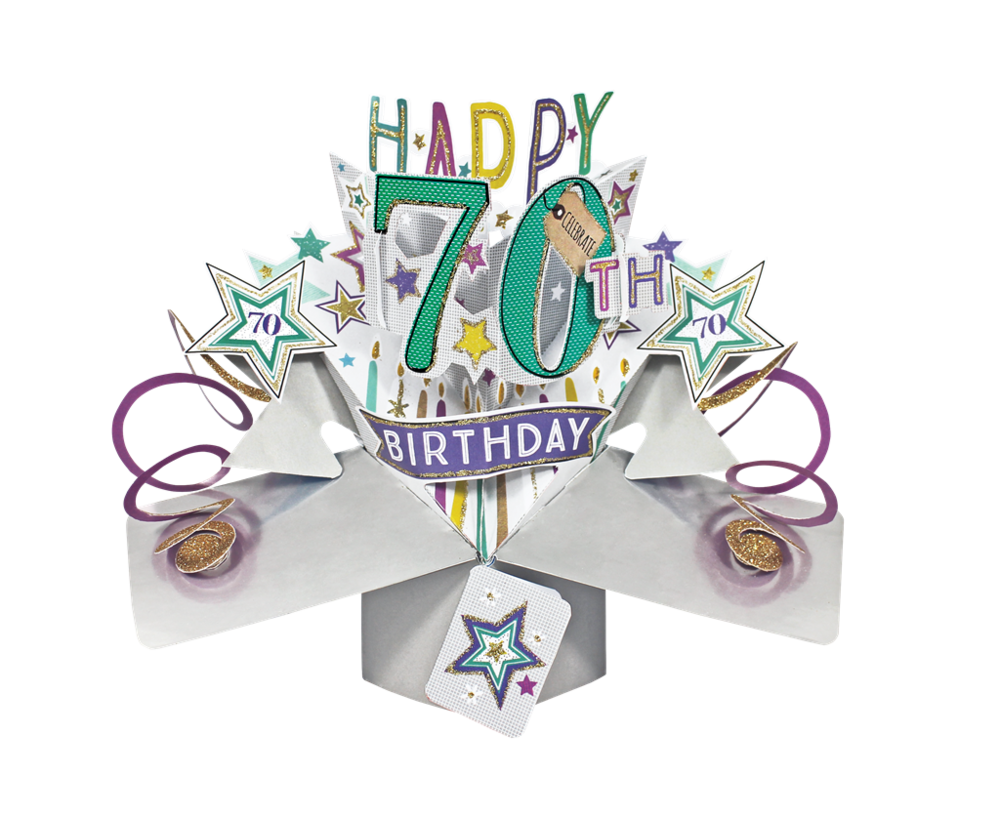 Happy 70th Birthday Pop-Up Greeting Card