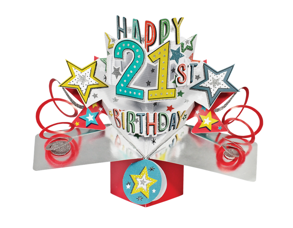 Happy 21st Birthday Pop-Up Greeting Card