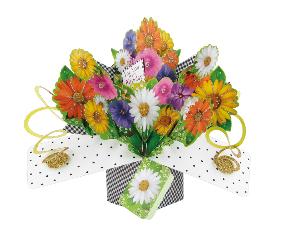birthday flowers popup greeting card  cards