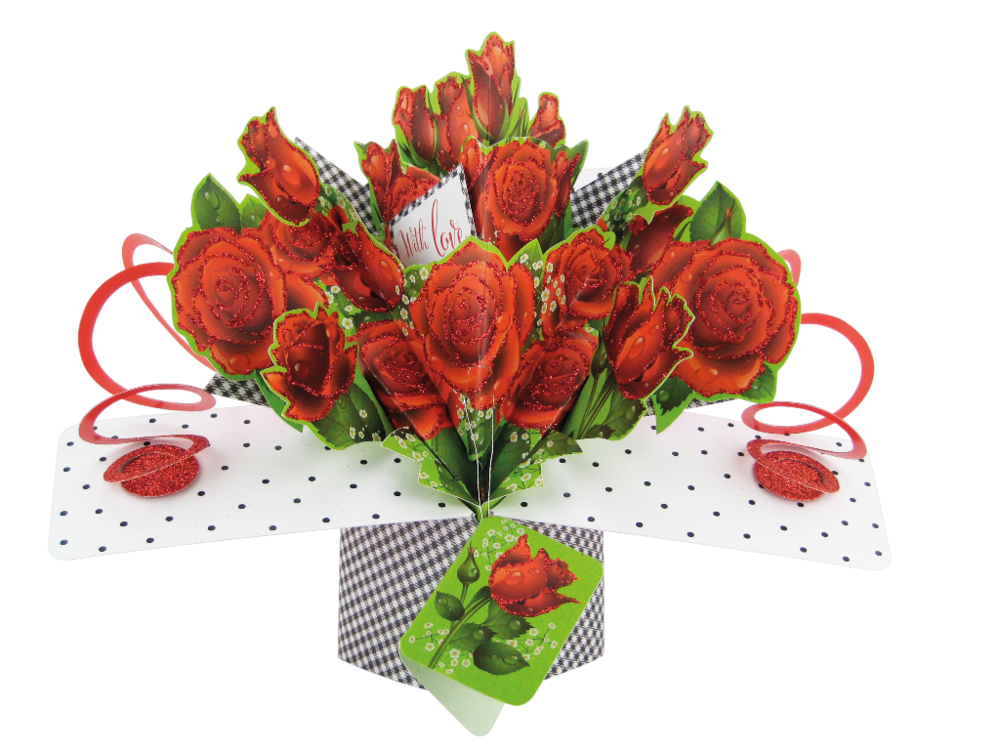 Roses With Love Pop-Up Greeting Card