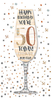 Happy 50th Birthday Handmade Embellished Greeting Card