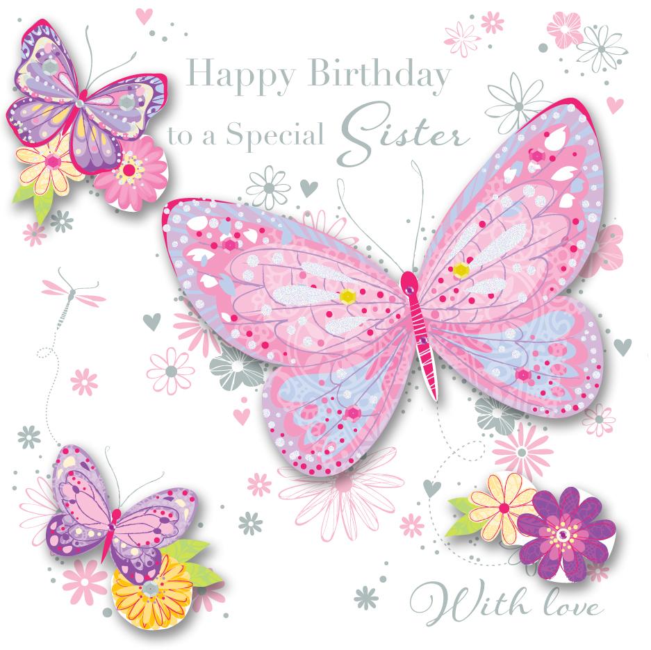 Sister Birthday Handmade Embellished Greeting Card Cards – Greeting Cards for Sister Birthday