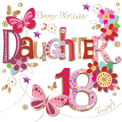 Daughter 18th Birthday Handmade Embellished Greeting Card