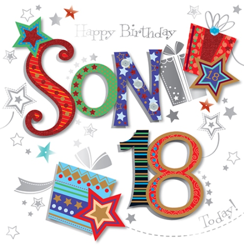 Son 18th Birthday Handmade Embellished Greeting Card