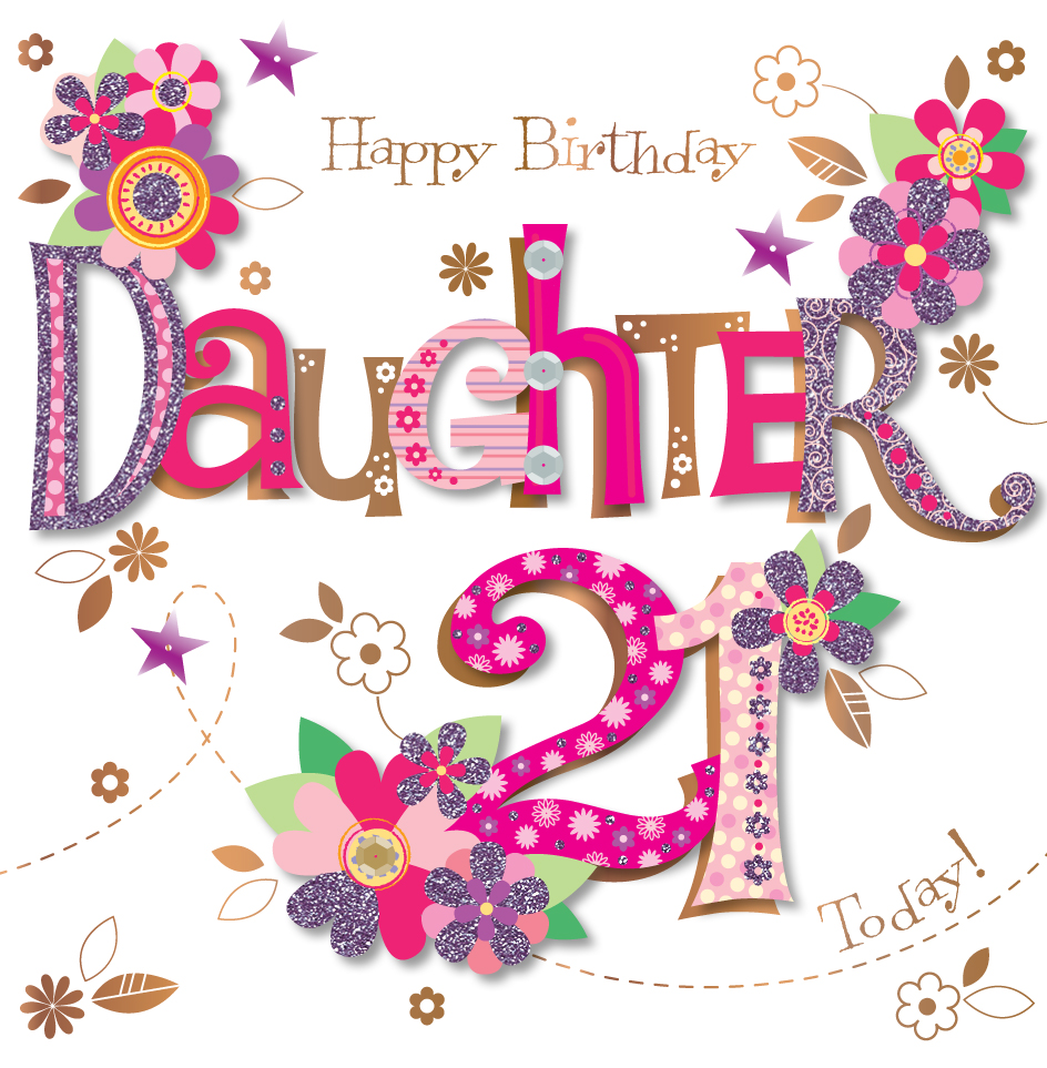 Funny 21st Birthday Cards: Daughter 21st Birthday Handmade Embellished Greeting Card