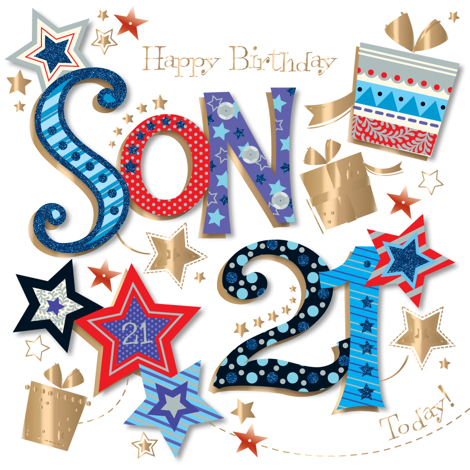 Son 21st Birthday Handmade Embellished Greeting Card – Son 21st Birthday Cards