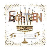 Eighteen 18th Birthday Handmade Embellished Greeting Card